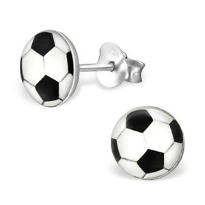 Boys Girls Sterling Silver Round Black & White FOOTBALL Stud Pair Earrings (A29)