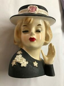 """Vintage Lady Head Vase Black Dress and Hat with White Flowers 5 5/8"""" Tall"""