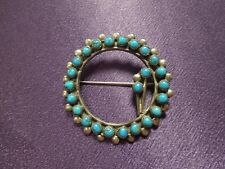 "Turquoise Silver Tone Pin Brooch Signed ""E"" Wreath Flower Shape Southwestern"