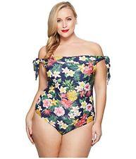 Unique Vintage 145153 Plus Size Off Shoulder Hermosa One-Piece Swimsuit Sz 4XL
