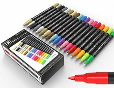 Tooli-Art 18 Acrylic Paint Pens Assorted Markers Set 0.7mm (Extra Fine Tip)