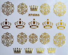Gold Crown Wrap Queen design Lace 3D Nail Art Stickers XF6060