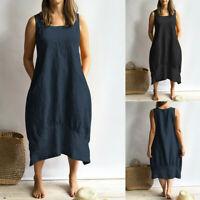 Women Solid Dress Sleeveless Loose Pocket Linen Dress Plus Size Summer Dresses