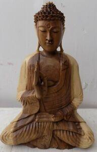Statua di Buddha in legno massello suar Intarsiato a mano naturale cm 35x18x53h