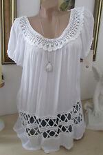 NEUF Italie été blouse tunique crochet hippie grande chemise blanc boho 36 38 40