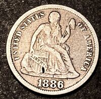 1886 Seated Liberty Silver Dime 10c Full Liberty Collectible Us Type Coin