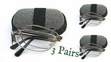 3 X Pares Plata Plegable Lectura Estuche Gafas ,Paño Con 7 Lente Variations Z006
