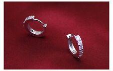 Vintage fashion silver plated jewellery, Korean single-row gem earrings ear cuff