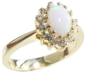 Ah! Jewellery® SEMI PRECIOUS 7.5mm Genuine Gemstone OPAL Yellow Gold Bonded Ring