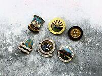 Collection x 6 Vintage Enamel Pin Badges - British & American Lawn Bowls Bowling