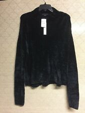 Sanctuary Chenille Mock Neck Sweater Black Womens Size Large $79 Retail