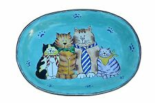 ART GIFTS Enamel Copper Hand Painted Small Soap Dish Plate Tray Cat Kitty Family
