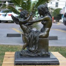 Western Bronze Marble Venus And Little Cupid Naked Art Deco Sculpture Statue