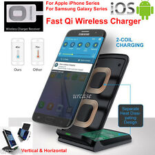2 Coils Qi Wireless Fast Charger Charging Stand Dock f Samsung Galaxy/iPhone LOT