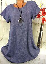 Shirt T-Shirt Tunika Bluse Top Hängerchen Baumwolle Gestreift Blau Weiß XL 42 44