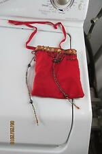 Sniper 10158 Red Retro Hippie Style Hand Bag purse With Beads And Stringers