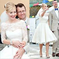 1950s Vintage Tea Length Lace Satin Wedding Dress Short White/Ivory Bridal Gown