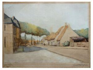 Louis-Etienne DAUPHIN: Village Landscape / French Post-Impressionism Etching