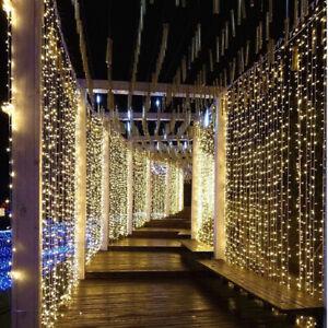 306 LED Curtain Fairy Lights Indoor/Outdoor Wedding Party Garden Decor Christmas