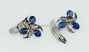 Natural Blue Sapphire & Diamond with 925 Sterling Silver Cufflink #5012