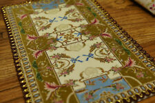 1:12 Yellowish-green Ivory Blue Stunning Dollhouse Rug French Swirls Nice Lace