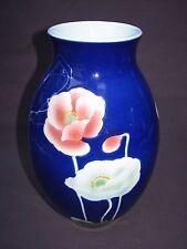 Chinese Cobalt Blue Porcelain Pink White Iceland Poppy Poppies Flower Vase Decor