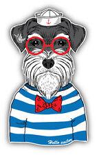Dog Sailor Car Bumper Sticker Decal 3'' x 5''