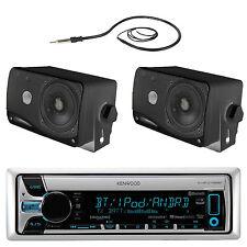 New Kenwood Boat CD/MP3 USB iPod Bluetooth Receiver 2 Black Box 200W Speakers