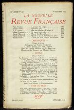 La Nouvelle revue française 265 1er octobre 1935  TBE