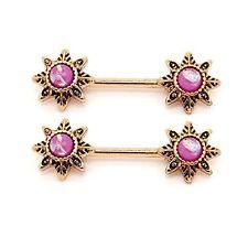 14G Nipple Barbell Ring Body Piercing Tribal Flower Created-Opal