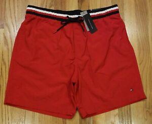 Tommy Hilfiger Men's Flag Logo Swim Trunks Red Size XXL