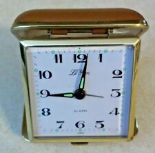 VINTAGE LA GRAN FOLDING TRAVEL ALARM CLOCK RUNS GOOD & ALARM WORKS