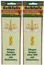 4 x Gelbfalle gegen Fliegen zum Hängen, Gelbsticker, Leimfalle, Klebefalle