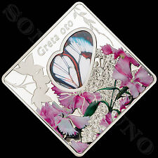 GRETA OTO - Animals in Glass #1 - GLASSWINGED BUTTERFLY Silver Coin 2014 Palau