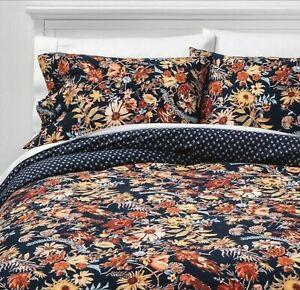 Threshold Prairie Floral Duvet Cover Set F/Q or King navy blue floral new