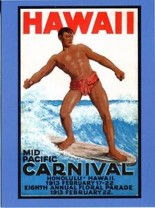 POSTCARD FROM VINTAGE POSTER FOR THE HAWAII MID PACIFIC CARNIVAL FEBRUARY 1913
