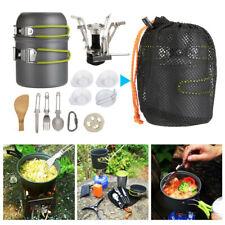 Portable Outdoor Camping Stove Hiking Cookware Cooking Picnic Bowl Pot Pan Set