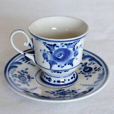 New listing Gzhel Porcelain Maria Demitasse Espresso Coffee Cup & Saucer Blue White Russia #