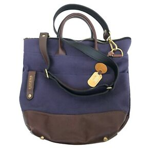 R.Riveter Otto Navy Carry All Canvas Tote Bag w/Brown Leather Trim HANDBAG $240