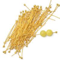 100 pcs 30mm Gold Plated BALLPINS Headpins Jewellery Making Ball Head Pins