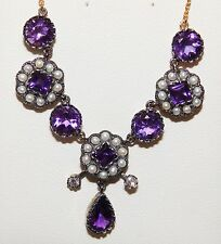 ANTIQUE STYLE 9CT GOLD SILVER SEED PEARL AMETHYST DIAMOND  NECKLACE