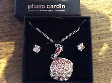 Pierre Cardin fashion necklace + earrings set silver and crystal bling New box'd