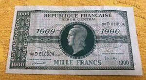 Billet ancien Mille Francs Francs Marianne Trésor Central Française en l'état
