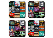 Personalized Coasters featuring the words COFFEE & TEA in sign photos- Set of 4