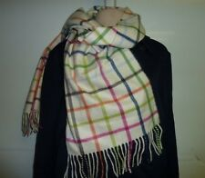 COACH 83100 Women's ivory white Cashmere Plaid Tattersall Scarf Fringe Legacy