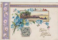BELLE CARTE POSTALE FANTAISIE GAUFFREE/MYOSOTIS/PAYSAGE MARIN-BARQUE-FRISES-1907