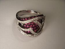 Fabulous Estate 14K White Gold Diamond Undergallery Pink Sapphire Band Ring