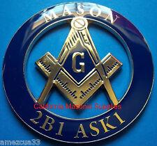 2B1 ASK1 Masonic Auto Emblem Freemasonry  Car  Decal  Lodge Mason Blue & Gold