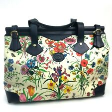 GUCCI 002・39・0202 Flora Hand Bag Duffle Bag Canvas × Leather Multicolor...