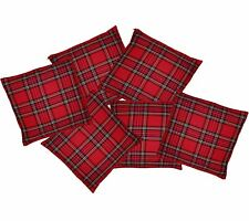 "6 Pack - Red Tartan 16"" x 16"" Cushion Covers Burns Night Scottish Home Decor"